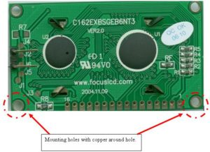 Printed Circuit Board (COB) with mounting holes